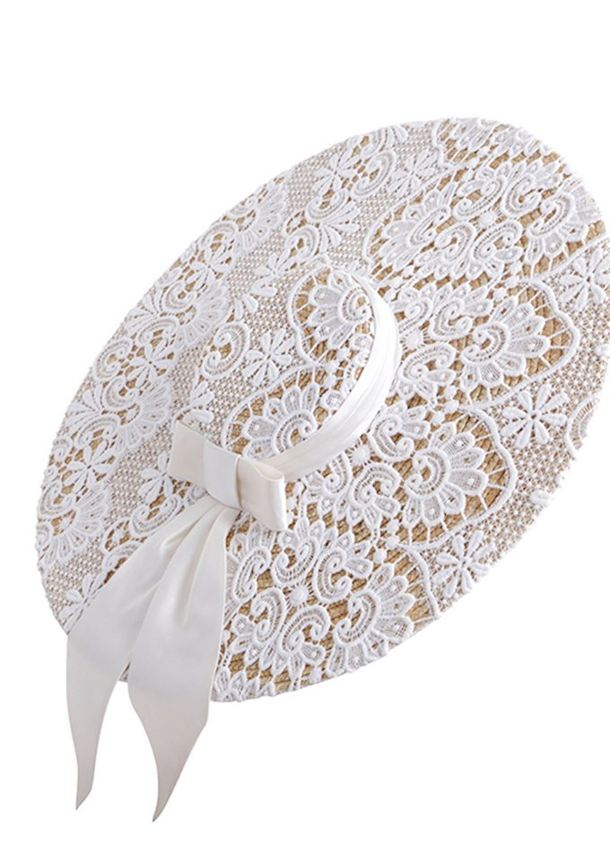 Couture Guipure lace wide-brimmed straw with Ivory Duchess Silk Bow