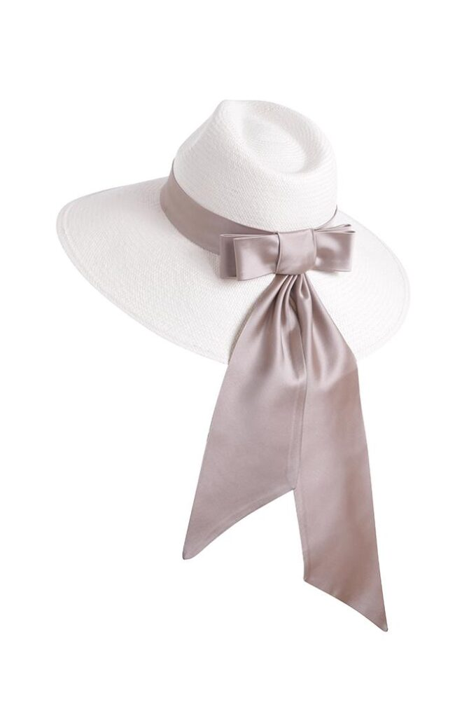 Wide brimmed hat with tailored silk bow