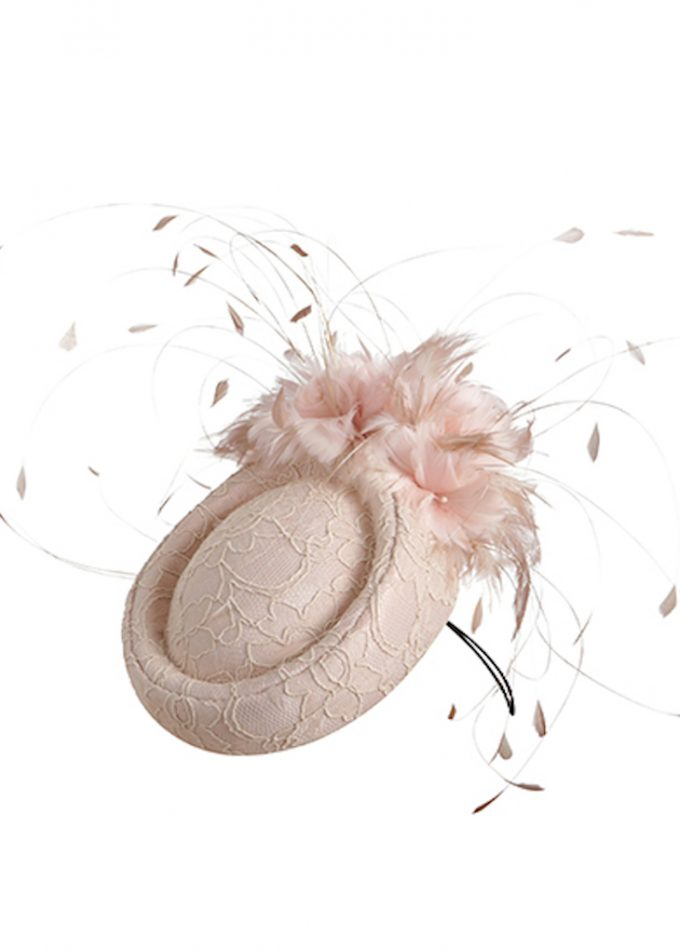 Blush-toned lace pillbox hat feathers detail