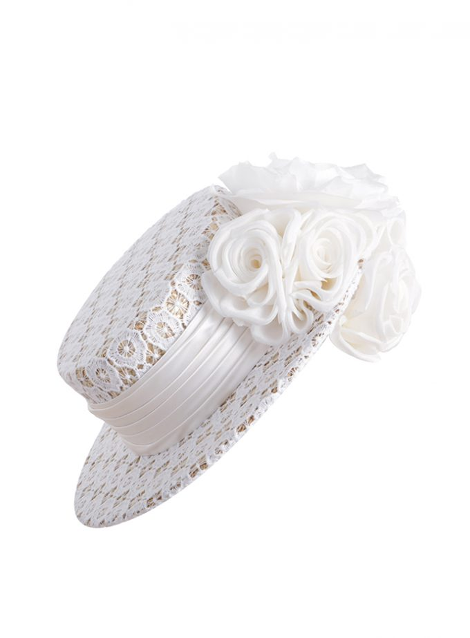 White Guipure lace tilted boater hat with silk floral detail