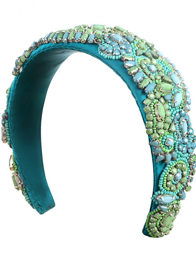 Luxury handmade designer headband with richly textured and heavily embellished turquoise, green and blue stone trim.