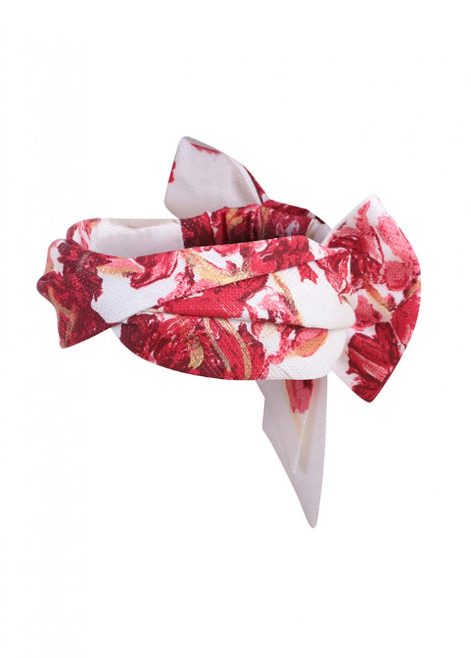 Hand-painted floral red and white headwrap