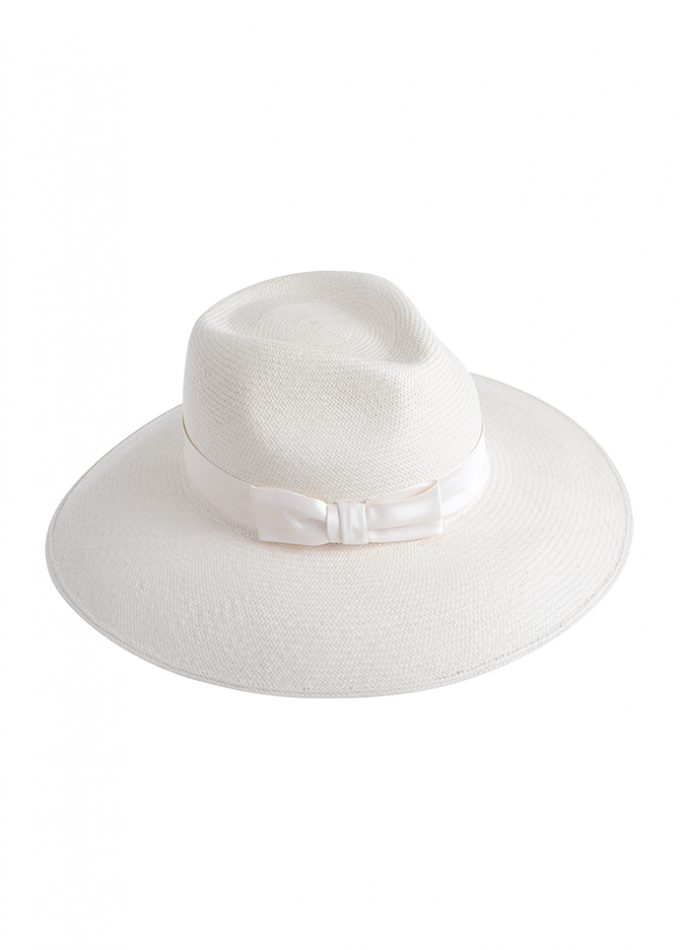Ivory handwoven panama hat with ivory silk band