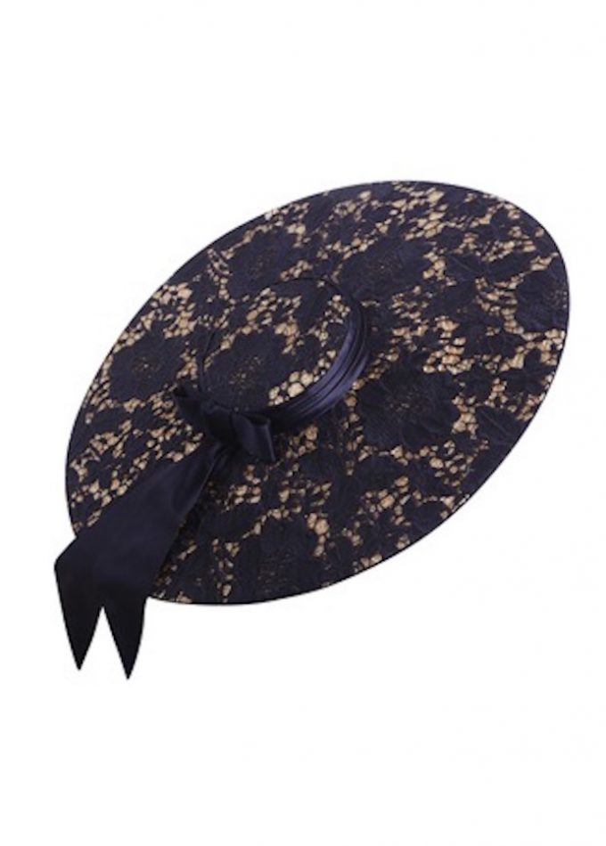 Couture Guipure lace hat with navy silk bow