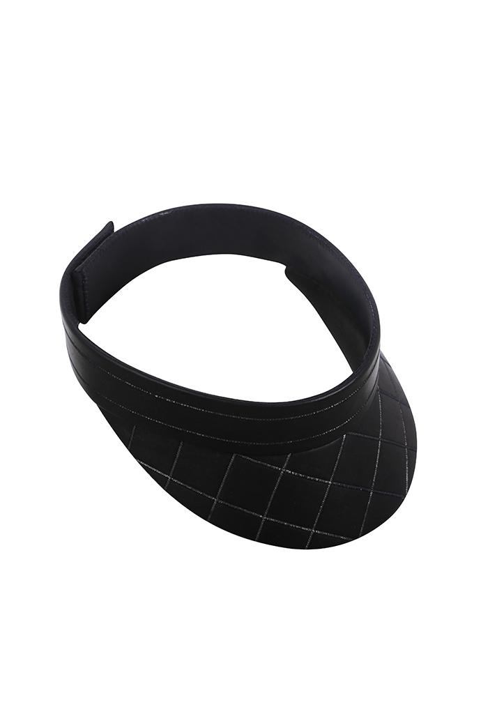 Limited edition hand-made blue black leather visor with stitched detailing.