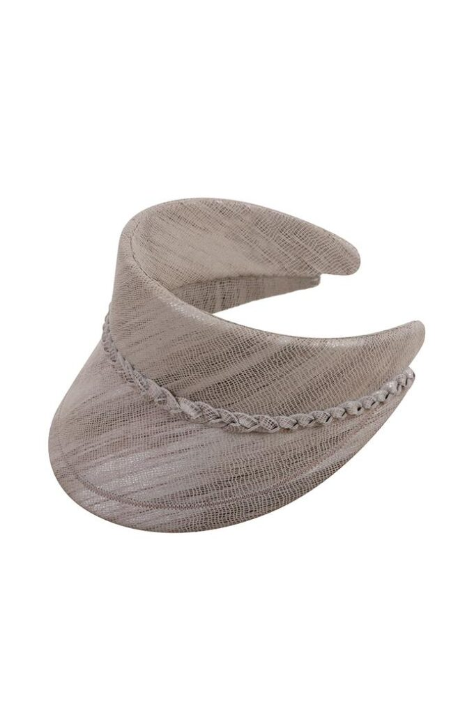 Hand-made oatmeal leather visor with pleated detail