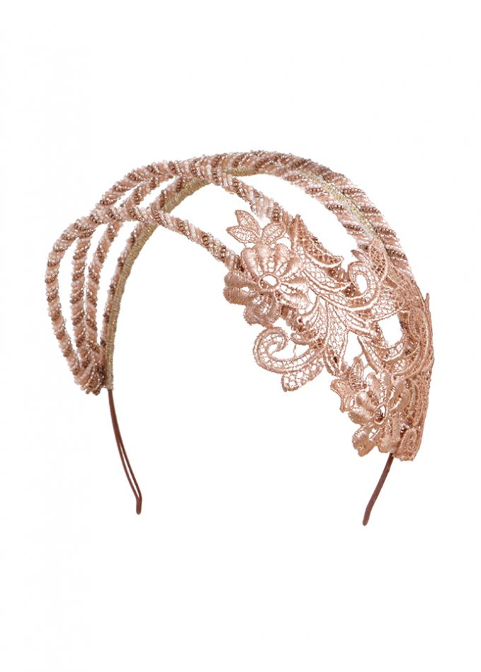 Rose gold beaded bridal headpiece with hand-cut lace detailRose gold beaded headpiece with hand-cut lace detail