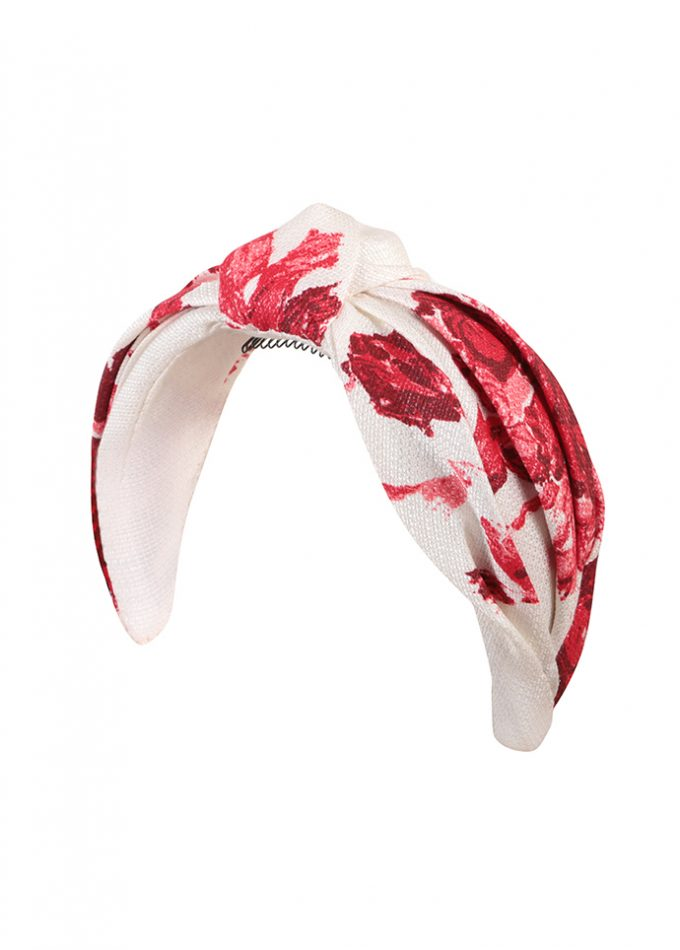 Hand-painted floral red and white turban headband