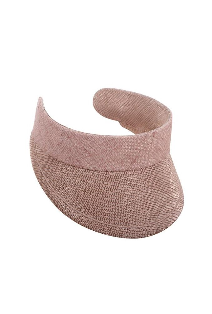 Hand-made rose gold leather visor