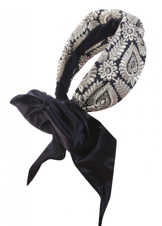 Kennedy - luxury navy brocade headwrap with duchess silk bow