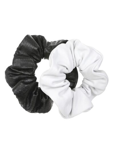 Karl leather scrunchies